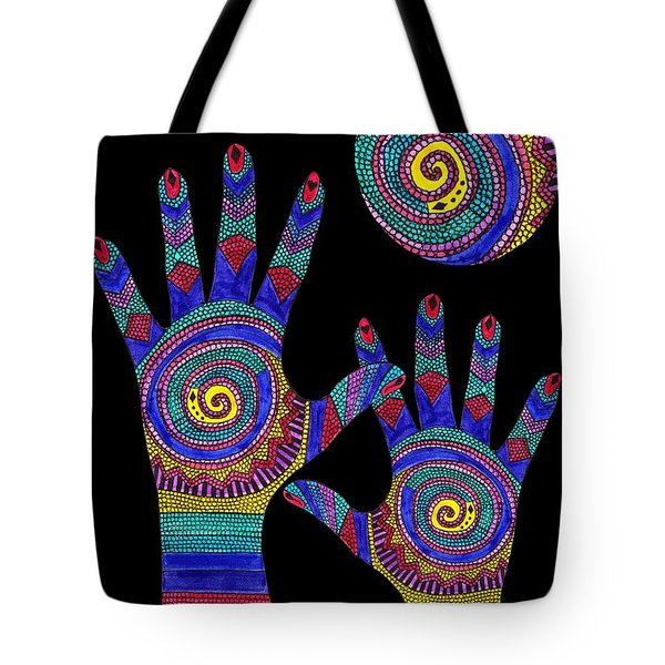 Aboriginal Hands To The Sun Tote Bag