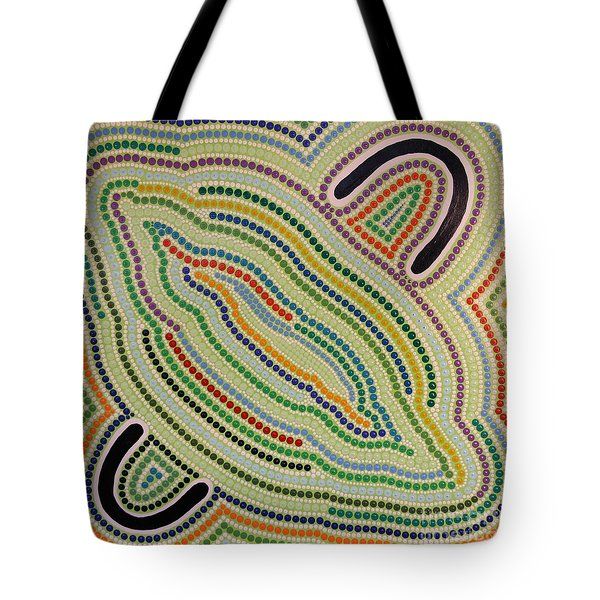 Tote Bag featuring the painting Aboriginal Inspirations 17 by Mariusz Czajkowski
