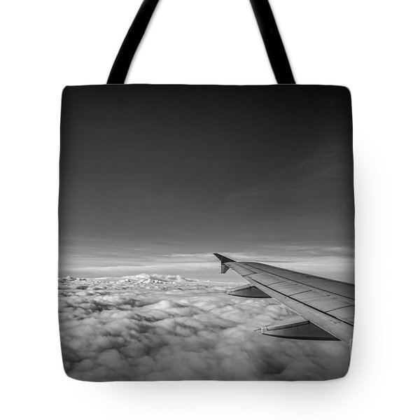 Above The Clouds Bw Tote Bag by Michael Ver Sprill
