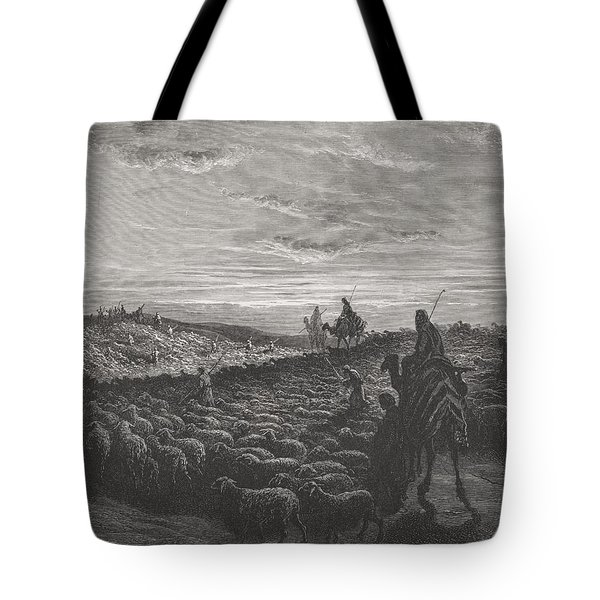 Abraham Journeying Into The Land Of Canaan Tote Bag by Gustave Dore