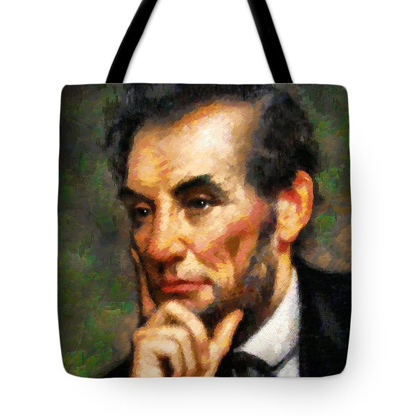 Tote Bag featuring the painting Abraham Lincoln - Abstract Realism by Isabella Howard