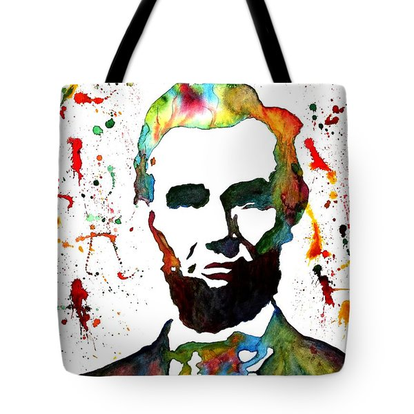 Tote Bag featuring the painting Abraham Lincoln Original Watercolor Painting by Georgeta Blanaru