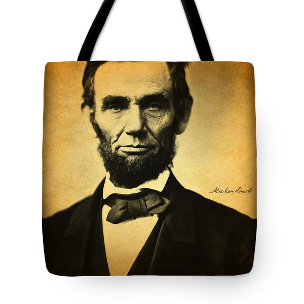 Abraham Lincoln Portrait And Signature Tote Bag by Design Turnpike