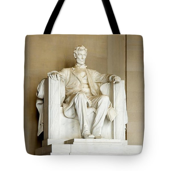 Abraham Lincolns Statue In A Memorial Tote Bag by Panoramic Images