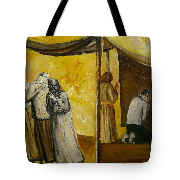 Abraham Praying Tote Bag by Richard Mcbee
