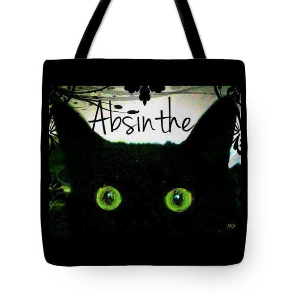 Tote Bag featuring the digital art Absinthe Black Cat by Absinthe Art By Michelle LeAnn Scott