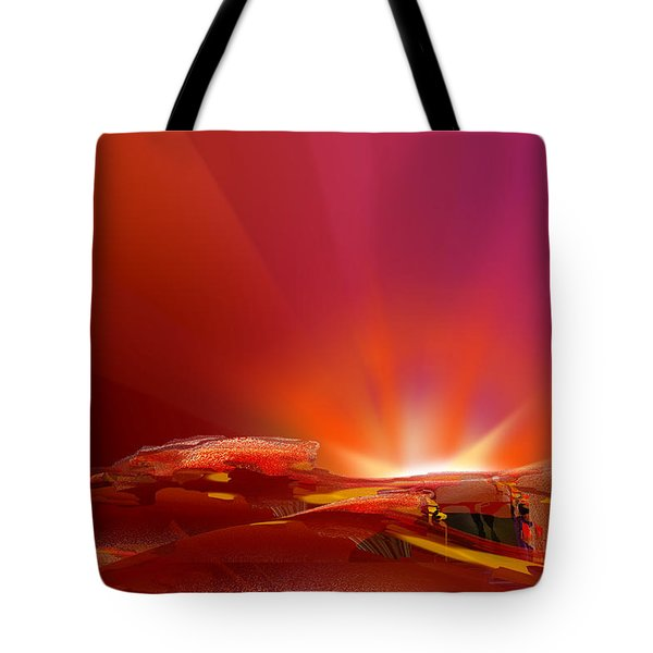 Abstract - Alien Sunrise Tote Bag by rd Erickson