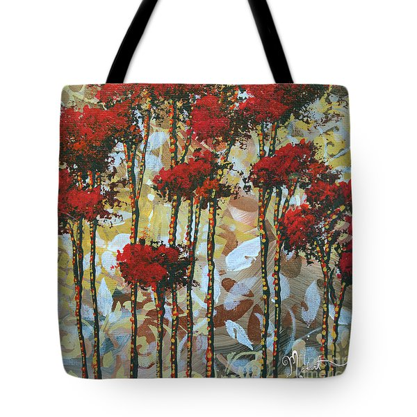 Abstract Art Decorative Landscape Original Painting Whispering Trees I By Madart Studios Tote Bag by Megan Duncanson