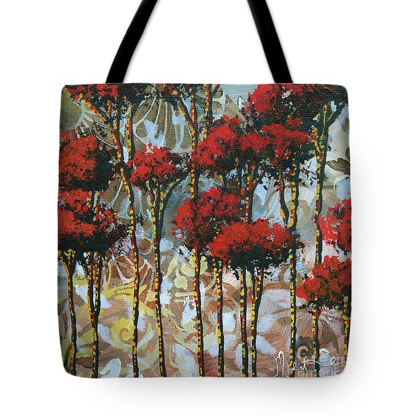 Abstract Art Decorative Landscape Original Painting Whispering Trees II By Madart Studios Tote Bag by Megan Duncanson