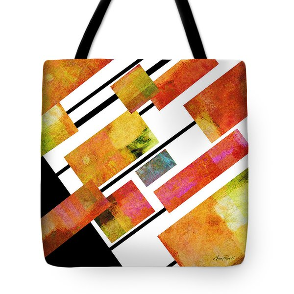 abstract art Homage to Mondrian Square Tote Bag by Ann Powell