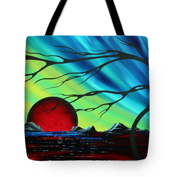 Abstract Art Landscape Seascape Bold Colorful Artwork Serenity By Madart Tote Bag by Megan Duncanson