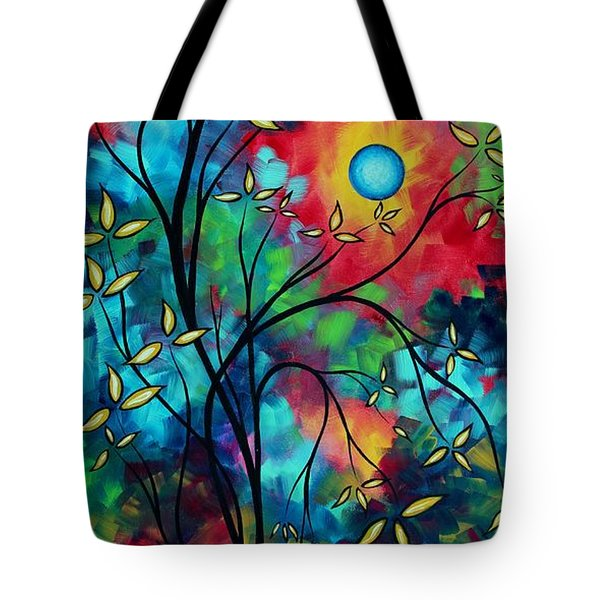 Abstract Art Landscape Tree Blossoms Sea Painting Under The Light Of The Moon II By Madart Tote Bag by Megan Duncanson