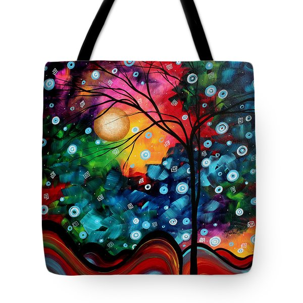Abstract Art Landscape Tree Painting Brilliance In The Sky Madart Tote Bag by Megan Duncanson