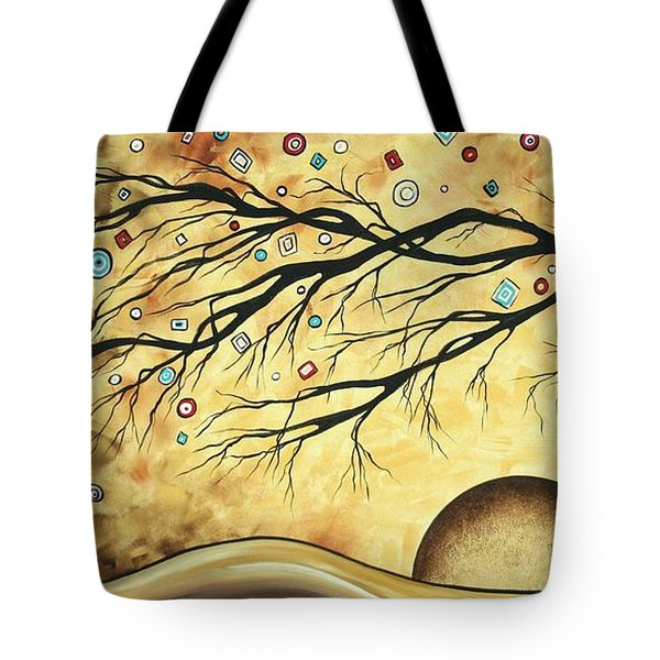 Abstract Art Metallic Gold Original Landscape Painting Colorful Diamond Jubilee By Madart Tote Bag by Megan Duncanson