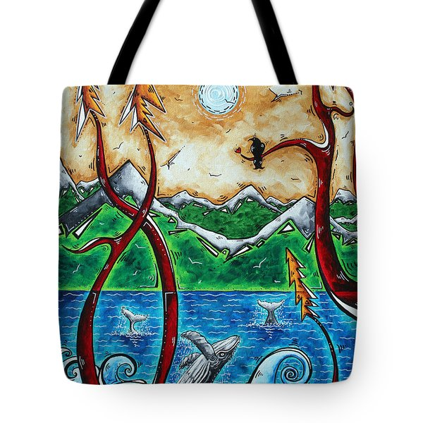 Abstract Art Original Alaskan Wilderness Landscape Painting Land Of The Free By Madart Tote Bag by Megan Duncanson