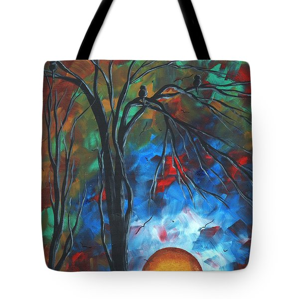Abstract Art Original Colorful Bird Painting Spring Blossoms By Madart Tote Bag by Megan Duncanson