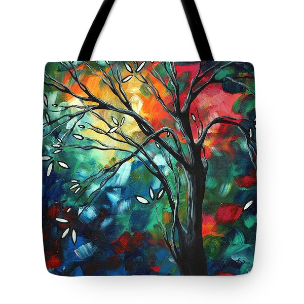 Abstract Art Original Colorful Painting Spring Blossoms By Madart Tote Bag