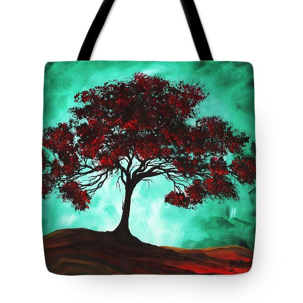 Abstract Art Original Colorful Tree Painting Passion Fire By Madart Tote Bag by Megan Duncanson