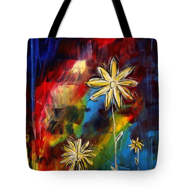 Abstract Art Original Daisy Flower Painting Visual Feast By Madart Tote Bag by Megan Duncanson