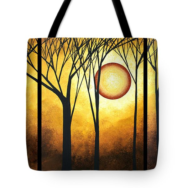 Abstract Art Original Landscape Golden Halo By Madart Tote Bag by Megan Duncanson