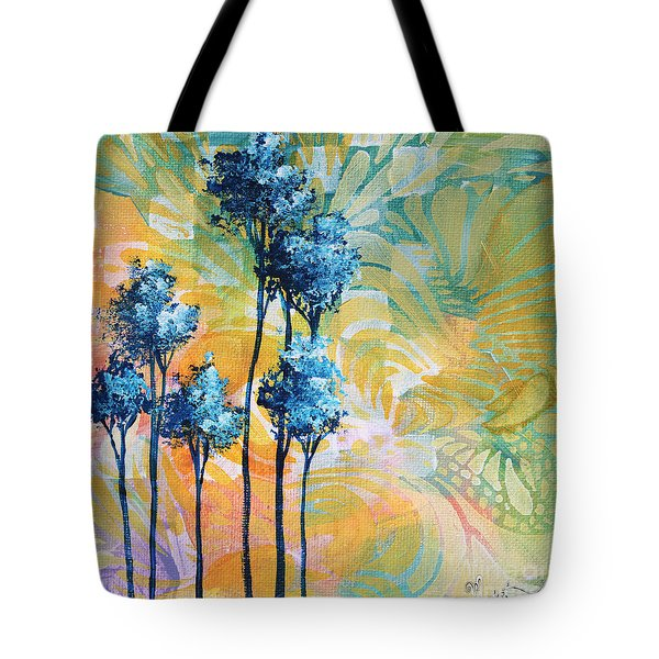 Abstract Art Original Landscape Painting Contemporary Design Blue Trees I By Madart Tote Bag by Megan Duncanson