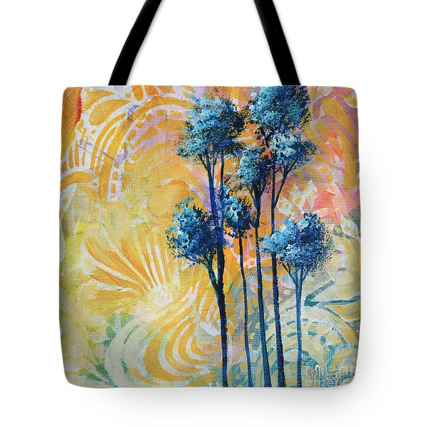 Abstract Art Original Landscape Painting Contemporary Design Blue Trees II By Madart Tote Bag by Megan Duncanson