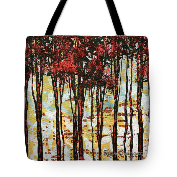 Abstract Art Original Landscape Painting Contemporary Design Forest Of Dreams I By Madart Tote Bag by Megan Duncanson
