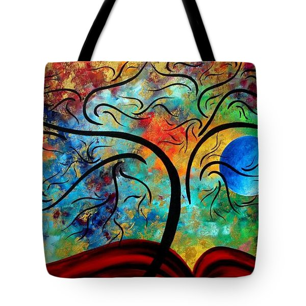 Abstract Art Original Landscape Painting Metallic Gold Textured Blue Moon Rising By Madart Tote Bag