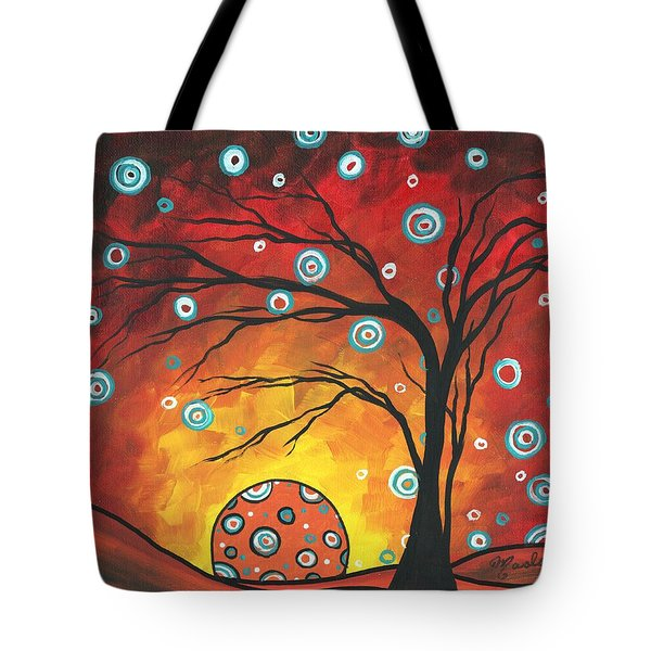 Abstract Art Original Landscape Painting Setting Sun By Madart Tote Bag by Megan Duncanson