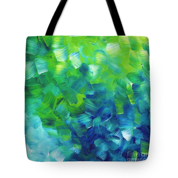 Abstract Art Original Textured Soothing Painting Sea Of Whimsy I By Madart Tote Bag