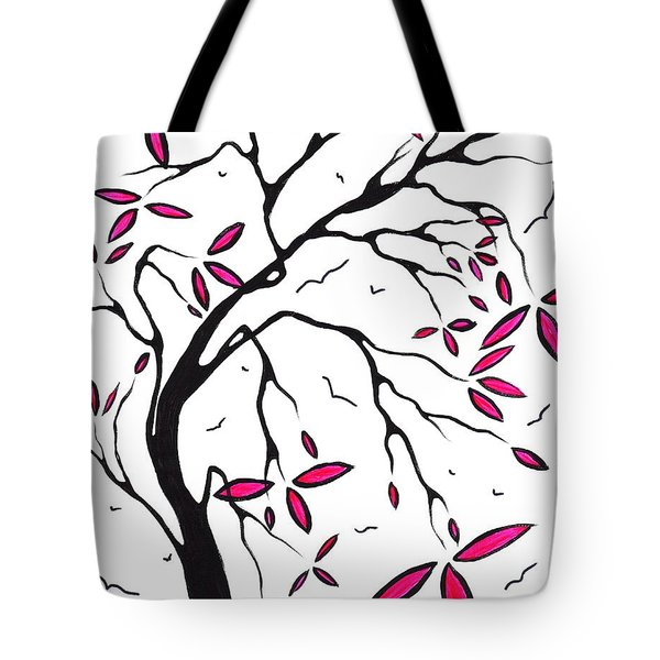 Abstract Artwork Modern Original Landscape Pink Blossom Tree Art Pink Foliage By Madart Tote Bag by Megan Duncanson