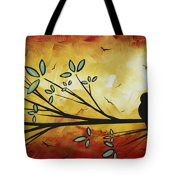 Abstract Bird Landscape Tree Blossoms Original Painting Family Of Three Tote Bag by Megan Duncanson