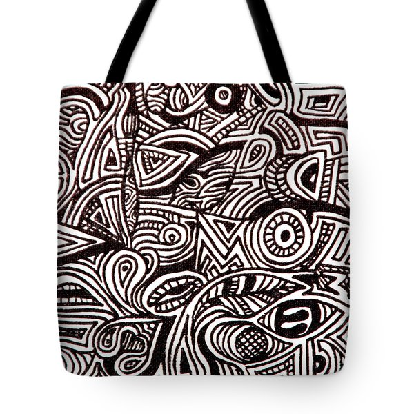 Tote Bag featuring the painting Abstract Black And White Ink Line Drawing by Jean Haynes