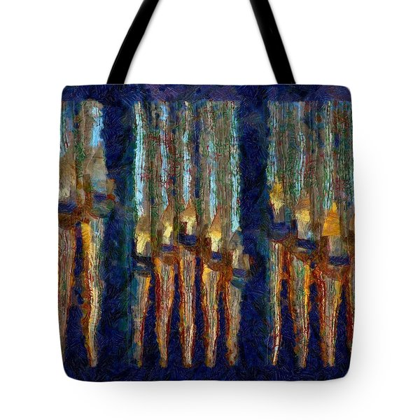 Abstract Blue And Gold Organ Pipes Tote Bag