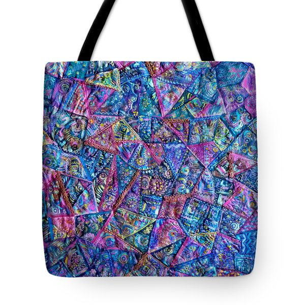 Abstract Blue Rose Quilt Tote Bag