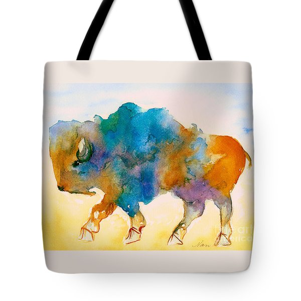 Abstract Buffalo In Blue Rust And Yellow Tote Bag by Nan Wright