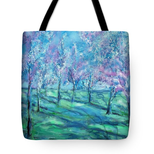 Abstract Cherry Trees Tote Bag by Eric  Schiabor