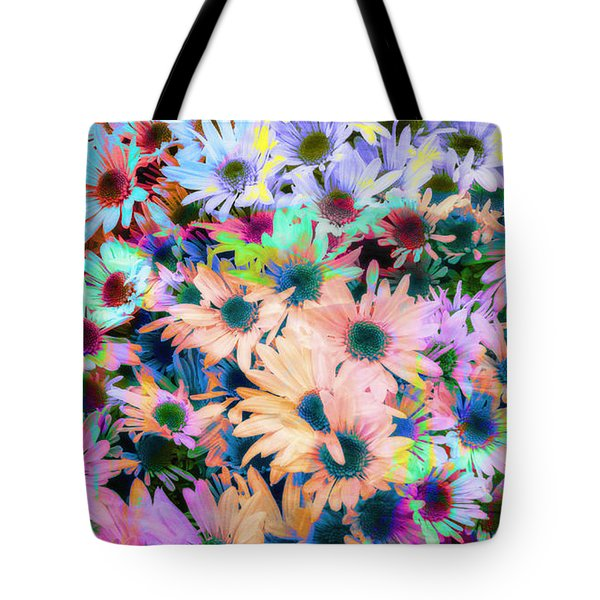 Abstract Colored Flowers Tote Bag