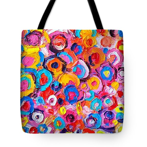 Abstract Colorful Flowers Triptych  Tote Bag
