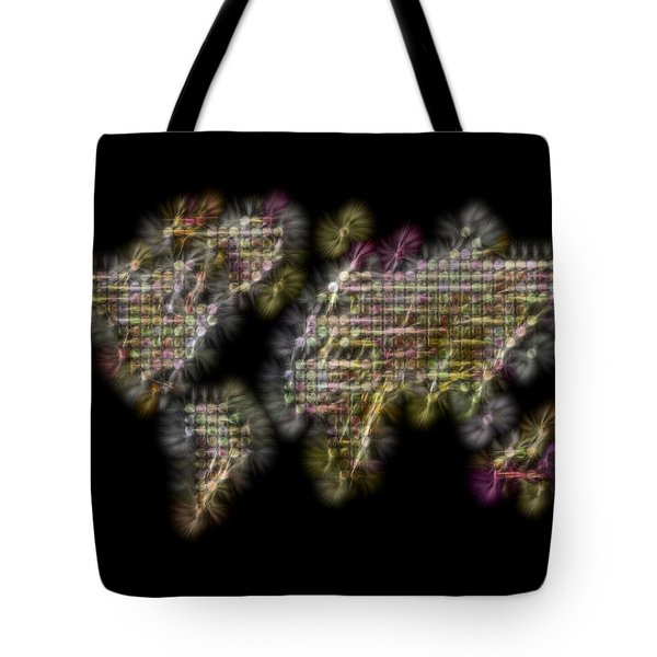 Abstract Colorful World Map Fractalius Tote Bag by Georgeta Blanaru