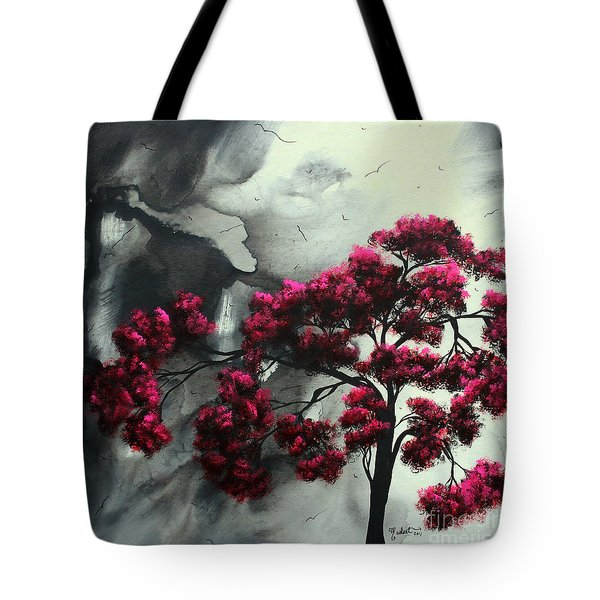Abstract Contemporary Art Landscape Painting Modern Artwork Pink Passion By Madart Tote Bag by Megan Duncanson