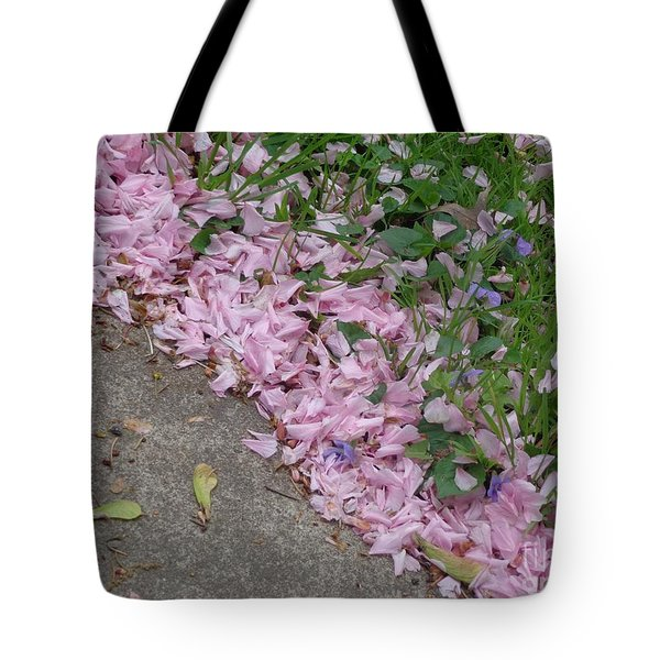 Abstract Diagonal Pink Petals Tote Bag by Christina Verdgeline
