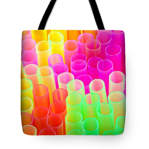 Tote Bag featuring the photograph Abstract Drinking Straws #2 by Meirion Matthias