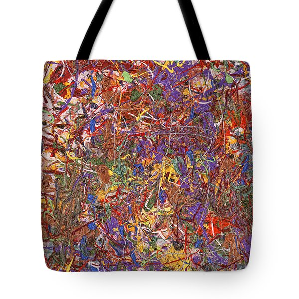 Abstract - Fabric Paint - String Theory Tote Bag by Mike Savad