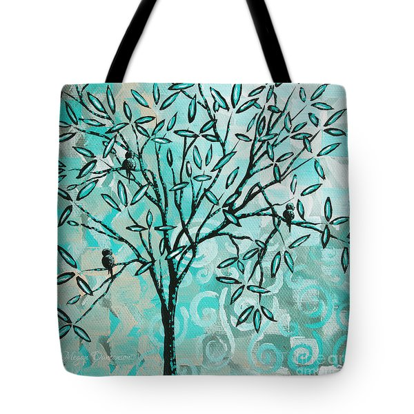 Abstract Floral Birds Landscape Painting Bird Haven II By Megan Duncanson Tote Bag by Megan Duncanson