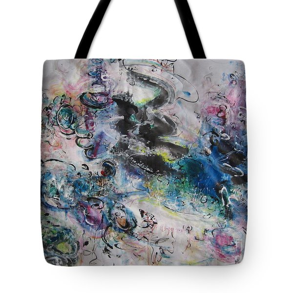 Abstract Flower Field Painting Blue Pink Green Purple Black Landscape Painting Modern Acrylic Pastel Tote Bag by Seon-Jeong Kim
