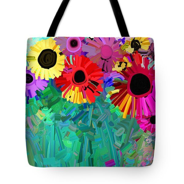 abstract - flowers- Flower Power Four Tote Bag by Ann Powell