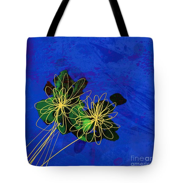 Abstract Flowers On Blue Tote Bag
