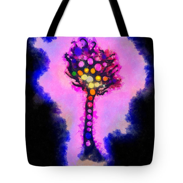 Abstract Glowball Tree Tote Bag by Pixel Chimp