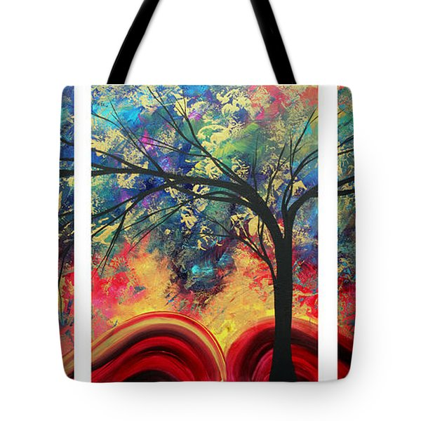 Abstract Gold Textured Landscape Painting By Madart Tote Bag by Megan Duncanson